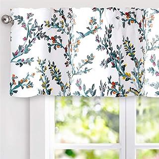 DriftAway Jasmine Watercolor Branch Botanical Thermal Insulated Energy Saving Window Curtain Valance for Living Room Bedro...