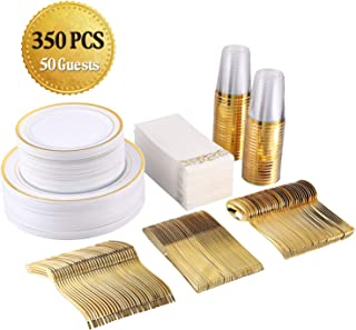 FOCUS LINE 350 Piece Disposable Gold Dinnerware Set for Party or Wedding-100 Gold Rim Plastic Plates - 50 Gold Plastic Silverware - 50 Gold Plastic Cups - 50 Linen Like Gold Paper Napkins(50 Guest)