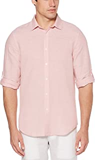 Perry Ellis Men's Rolled Sleeve Solid Linen Cotton Button up Shirt