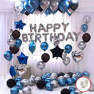 Party Propz Happy Birthday Decoration Kit 44Pcs Set for Husband Kids Boys Decorations Items Combo with Helium Letters Foil...