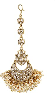 Indian Beautiful Bollywood Style Gold Tone Maang Tikka Forehead Traditional Jewelry for Women.