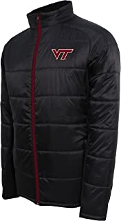 Crable Adult NCAA Men's Campus Specialties Full Zip Quilted Puffer Jacket, Carbon/Maroon, X-Large