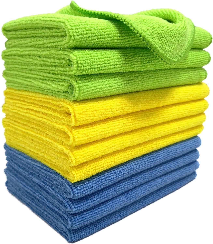 Polyte Mikrofaser Reinigungstücher Blau Grün Gelb 31 X 41 Cm 12 Stück Auto