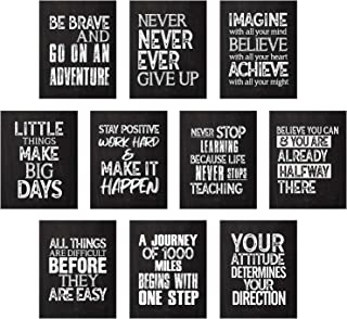 10 Pieces Inspirational Wall Posters Motivational Quote Posters Positive Affirmation Art Posters with 80 Glue Point Dots f...