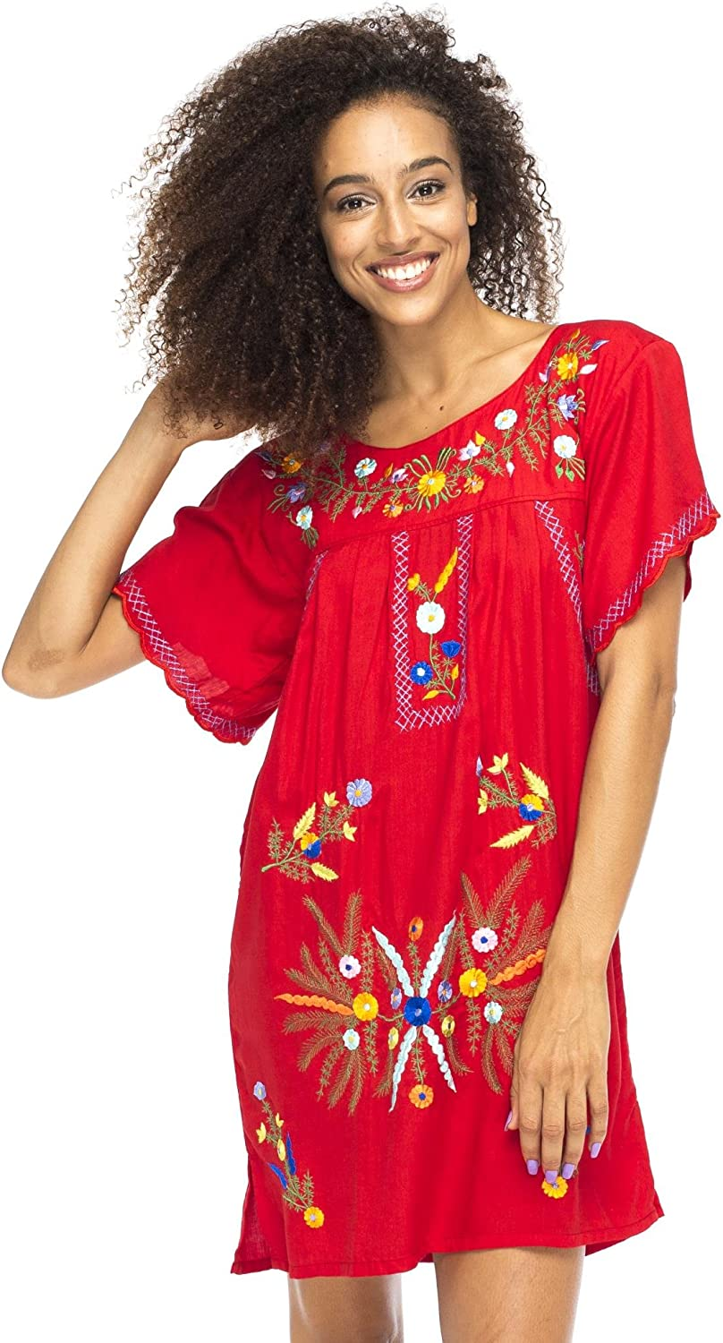 Back From Bali Womens Mexico Style Embroidered Short Dress