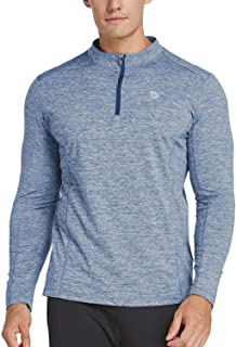 Men's 1/4 Zip Pullover Running Shirts Long Sleeved Tops Side/Back Pocketed