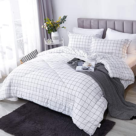 1 Plaid Comforter and 2 Pillowcases Andency Navy Grid Comforter King 104x90 Inch Navy Plaid Comforter Set 3 Pieces Comforter Sets Soft Microfiber Gingham Geometric Bedding Set
