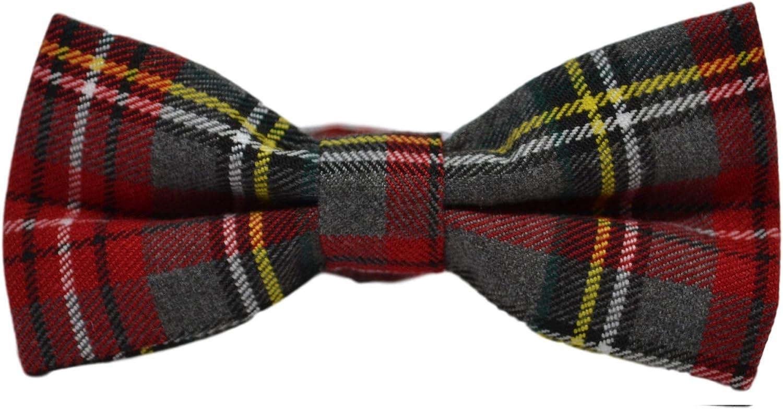 Traditional Light Grey & Red Tartan Bow Tie, Check, Plaid