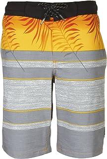 TONY HAWK Boys' Big Striped Palm Print Board Short Swim Trunk