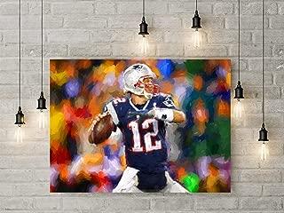 New England Patriots Tom Brady Digital Watercolor Wall Decor