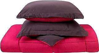 Clara Clark 3-Piece Goose Down Alternative Reversible Comforter Set, Full/Queen, Purple Eggplant/Hot Pink
