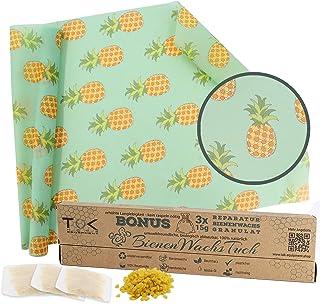 TOK Bienenwachstuch XL Rolle, Natur Bienenwachs Rolle, wiederverwendbar, waschbar - Beeswax Wrap, Wachspapier inkl. 3 x 15g Reparaturwachs & Schnittmuster Ananas