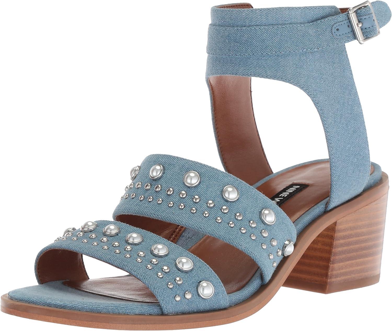 Nine West Womens Richgal Denim Heeled Sandal