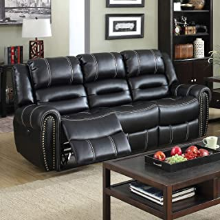 Furniture of America Dylan Black Leather Power-Assist Reclining Sofa