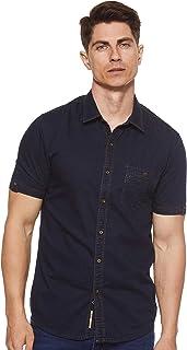 Deus Men's Denim with Khaki Stitch Casual Shirt, Black