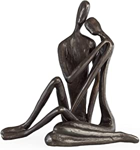 Danya B ZI6786L Contemporary Metal Art Shelf Décor - Cast Iron Handcrafted Sculpture - Couple Embracing – Large, Metal Statue, Wedding Gift