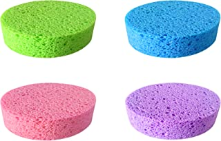 Bath Sponge Compressed, Comfortable and Soft Body Protector, Best Choice for Baby, Kids, Women, and Men, Natural Cellulose, Multiple Colour, 4 Pieces