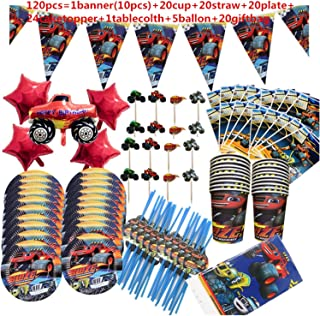 Party Tableware Blaze And Machines Car Theme Party Decoration Tableware Paper Cup Plate Banner Gift Bag Kids Birthday Part...