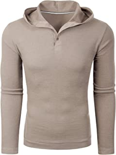 MixMatchy Men's Casual Long Sleeve Lightweight Cotton Basic Thermal Henley Top