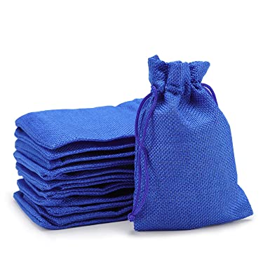 """Burlap Bags with Drawstring, EUSOAR 4.0 x 5.5"""" Gift Bags 50 pcs, Linen Pouches with Drawstring, Reusable Sacks, Business Shopping Store Package Present Bags, Birthday Wedding Party Pouches-Royal Blue"""