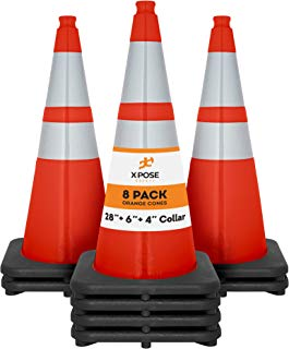 "Xpose Safety 28 Inch Orange Traffic Cones with 6"" & 4"" Collar, Multipurpose PVC Plastic Safety Cone for Parking, Soccer, Caution, Kids and Construction"