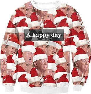 Christmas Sweater Sweatshirt Unisex Trump Print Ugly Sweatshirt Pullover Xmas Long Sleeve Shirts