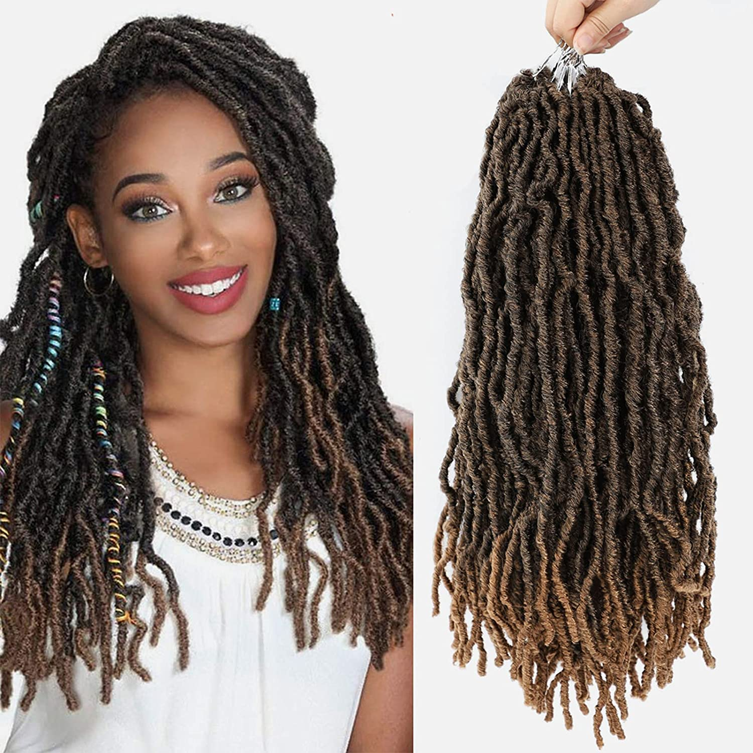 18Inch New Soft Faux Goddess Locs Crochet Max 41% OFF Hair Women For 6 Black Excellence
