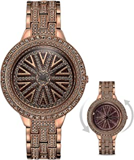 RORIOS Fashion 360°Rotatable Dial Ladies Wrist Watch Simulated Diamond Stainless Steel Strap Women Watches Waterproof