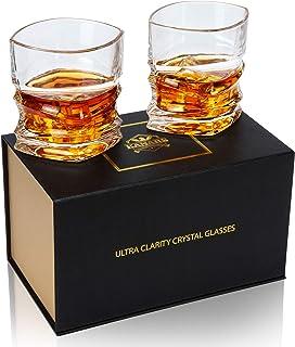 KANARS 2-teiliges Whisky Gläser Set, Bleifrei Kristall Whiskygläser, Spülmaschinentauglicher Whiskybecher, Hochwertige Qualität, 300ml, Luxus-Geschenkbox