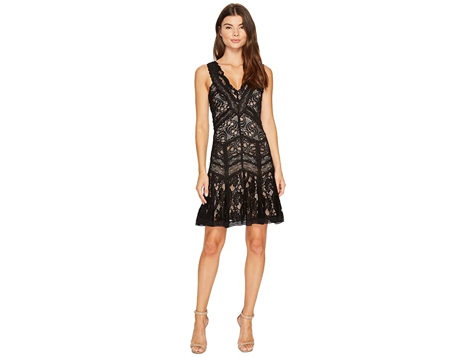 Nicole Miller Lace Combos Fit and Flare (Black/Nude) Women