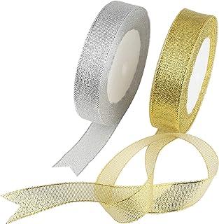 cinta regalo, KAKOO 2 pcs 25 Yard 20mm para decorar regalo de cajita de cartón y DIY árbol de navidad cintas brillante de cinta manualidad (oro&plata)