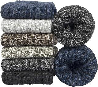 6pcs Men's Socks Merino Wool Winter Thermal Soft Classic Thick Business Chunky Socks Breathable Premium Hiking Socks Swea...