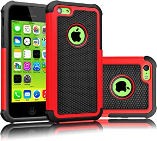 Tekcoo iPhone 5C Case, [Tmajor Series] [Red/Black] Shock Absorbing Hybrid Impact Defender Rugged Slim Case Cover Shell for Apple iPhone 5C Hard Plastic Outer + Rubber Silicone Inner