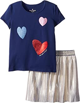 Tossed Hearts Skirt Set (Toddler/Little Kids)