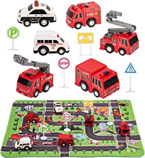 "Kilpkonn Fire Truck Toys with Play Mat,Fire Vehicles Set Include 6 Fire Engines, 4 Road Signs, 14"" x 18"" Fire Rescue Playmat, Mini Pull Back Car Toys,Perfect Car Party Favors Gift"