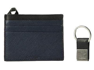 Calvin Klein Saffiano Card Case w/ Key Fob (Navy/Black) Wallet