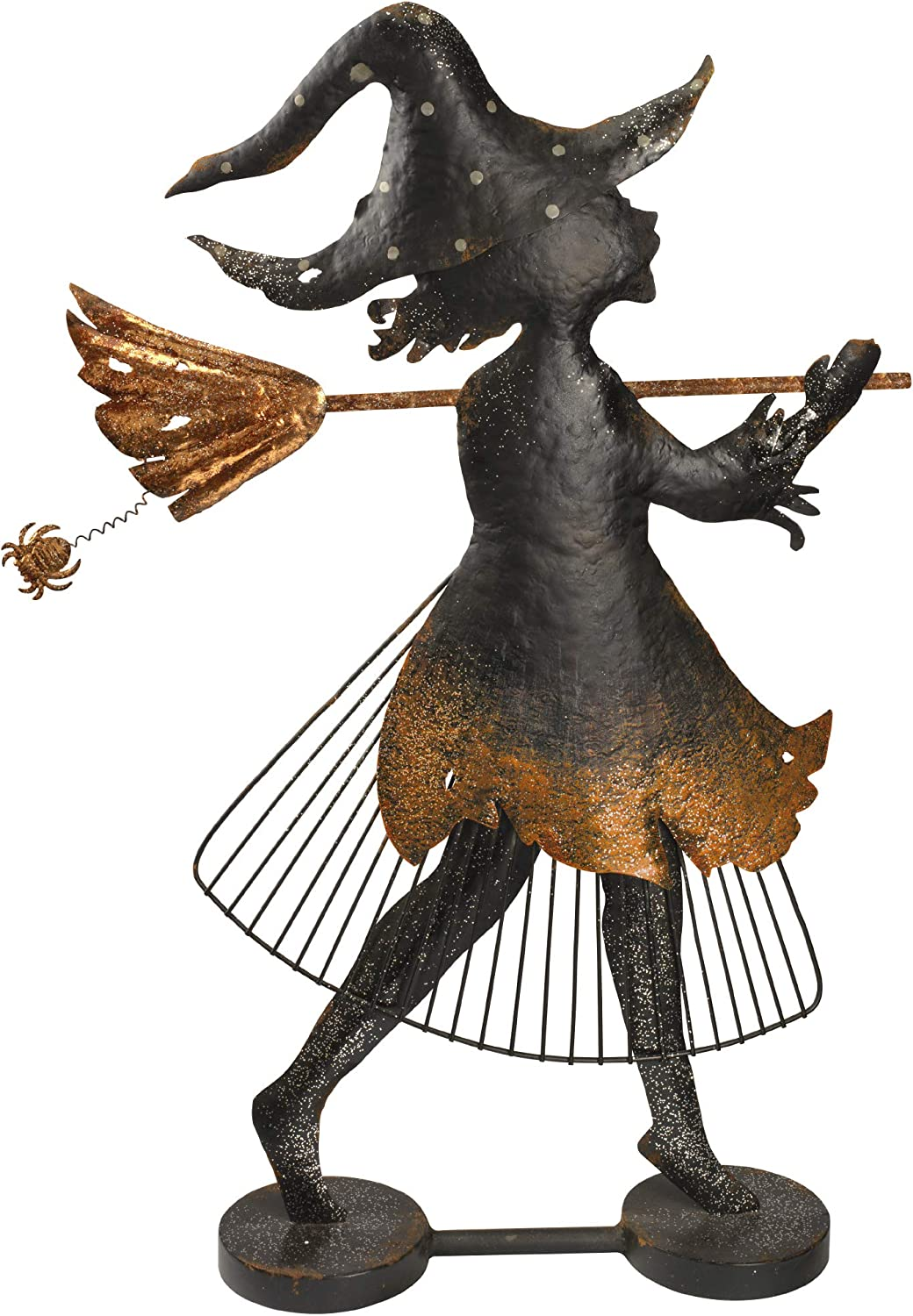 Design Toscano FU82955 Bewitched Blaise Metal Silhouette Witch Statue, Two Tone Black/Gold