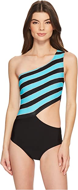MICHAEL Michael Kors - Rope Rugby Stripe One Shoulder Cut Out One-Piece Swimsuit w/ Zipper & Removable Soft Cups