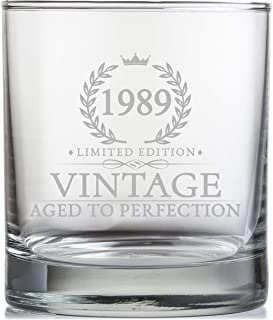 30th Birthday Gifts for Men Turning 30 Years Old - 11 oz. Vintage 1989 Whiskey Glass - Funny Thirtieth Whisky, Bourbon, Scotch Gift Ideas, Party Decorations and Supplies for Him, Husband, Dad, Man