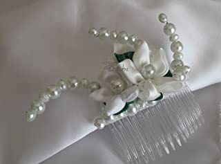 Pettine Pettinino Pettinini acconciatura sposa kanzashi bianco e verde con perle bianche