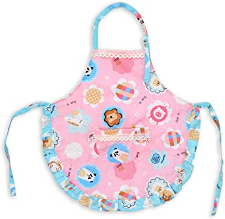 Kids Toddler Kitchen Cotton Apron with Pocket,Floral Animal Pattern Child Apron Cooking Baking Painting(Girl Pink,2-3 Years Old)