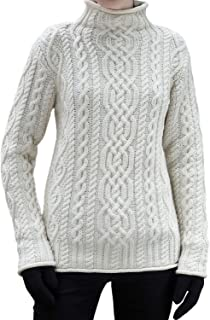 WESTEND Ladies Cable Knit Funnel Neck Supersoft Irish Wool Sweater