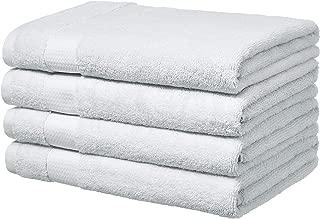 AmazonBasics Everyday Bath Towels, Set of 4, White, 100% Soft Cotton, Durable