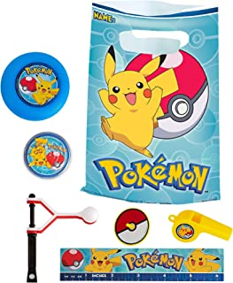 Party City Pokemon Basic Favor Supplies for 8 Guests, Include Plastic Favor Bags and a Complete Party Favor Pack of Toys