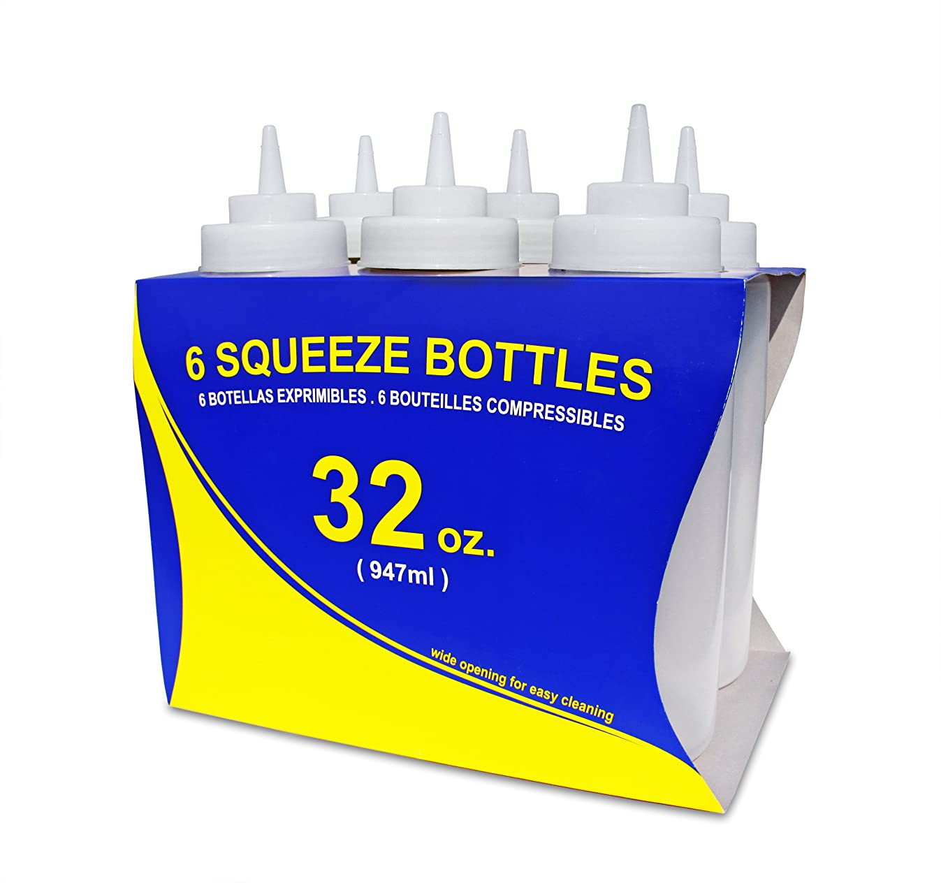 New Star Foodservice 26269 Squeeze Bottles, Plastic, Wide Mouth, 32 oz, Clear, Pack of 6