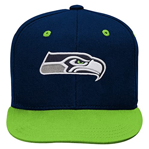 6bed8c79a96b5 NFL by Outerstuff NFL Seattle Seahawks Kids 2-Tone Flat Visor Snapback Hat  Dark Navy