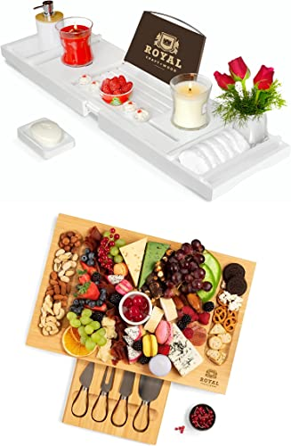 """2021 Luxury Bathtub Caddy online sale Tray and Unique Bamboo Cheese Board w/Knives, 17""""x11"""" by Royal popular Craft Wood sale"""