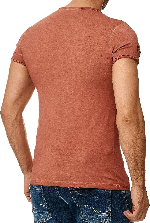 Tazzio 4050-1 Mens Short-Sleeved Polo T-Shirt with Stylish Toggle Closure V-Neck