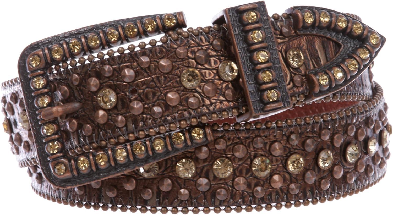 1 1 2  Snap On Western Cowgirl Brown Alligator Rhinestone Studded Leather Belt, Brown   32