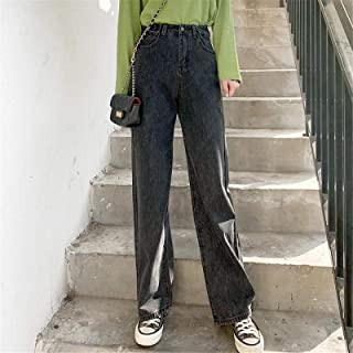 Jeans Jeans para Mujer Ropa De Cintura Alta Ropa De Mezclilla De Pierna Ancha Ropa De Calle Azul Pantalones Rectos Harajuku